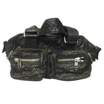 Black python shoulder Bag-0