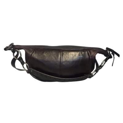 Chocolate leather shoulder Bag-0