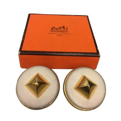 Clip on off-white leather Earrings-0