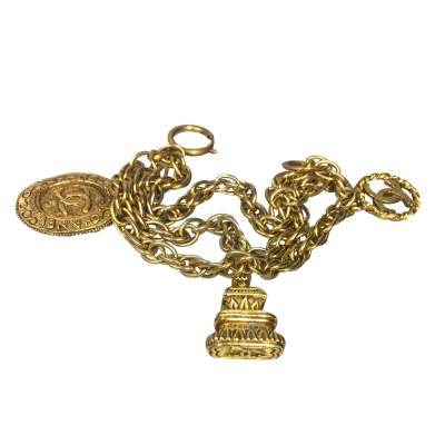 Chain Bracelet with gold metal Pendants-0