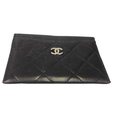 Black quilted leather Wallet-1