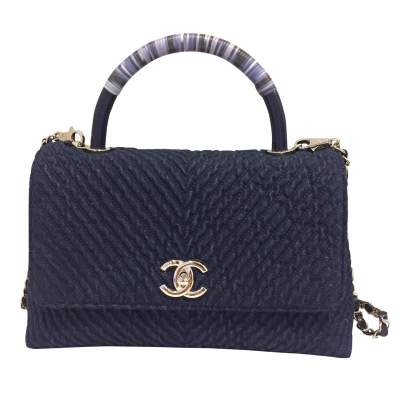 Coco navy blue denim Handbag-0