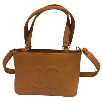 CC Logo gold grained leather Handbag-0