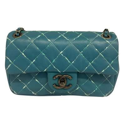 Quilted green blue leather Clutch-0