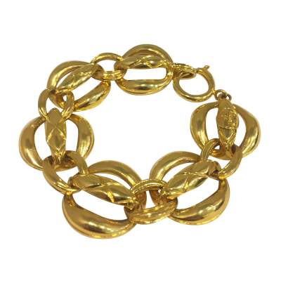 Gold metal bracelet with Rings-0