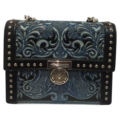 Black leather and fabric shoulder Bag-0