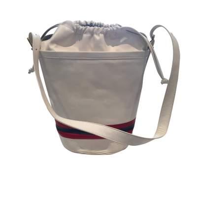 Vintage 80s white leather shoulder Bag-3