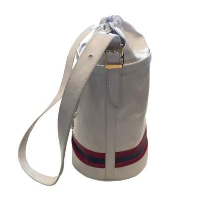 Vintage 80s white leather shoulder Bag-7