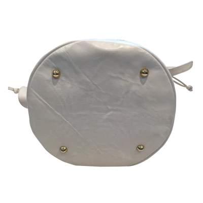 Vintage 80s white leather shoulder Bag-9