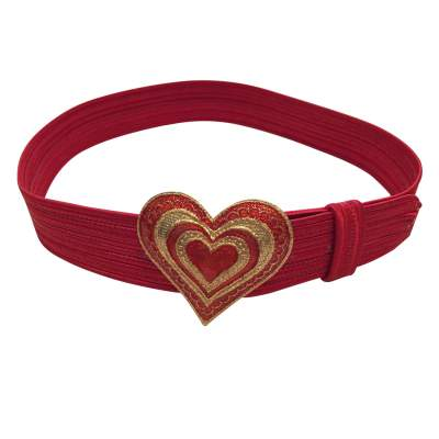 Vintage 1990s red fabric Belt-3