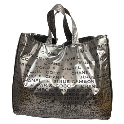 Silver vinyl tote Bag-1