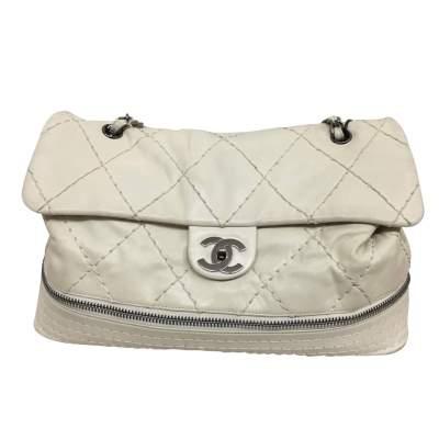 White and silver metal Handbag-1