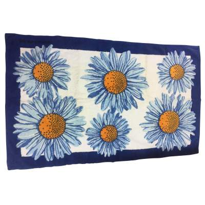 Blue daisy beach Towel-0