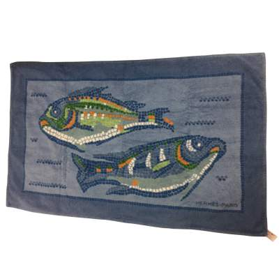 Blue fish beach Towel-0