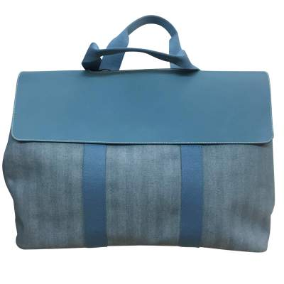 Large leather and canvas weekend Bag-0