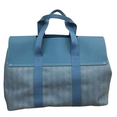 Large leather and canvas weekend Bag-3