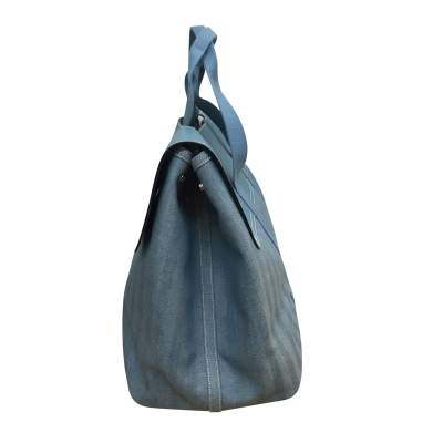 Large leather and canvas weekend Bag-5