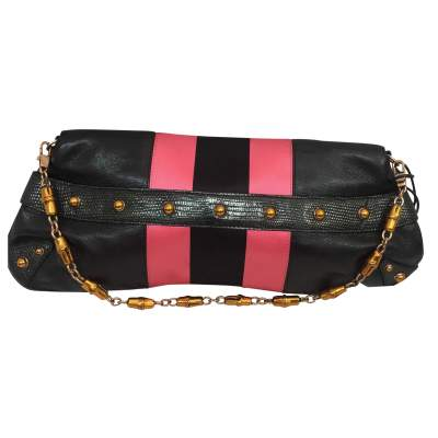 Black and  satin leather Bag-3