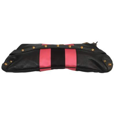 Black and  satin leather Bag-5