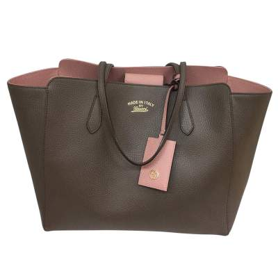Taupe grained leather tote Bag-1