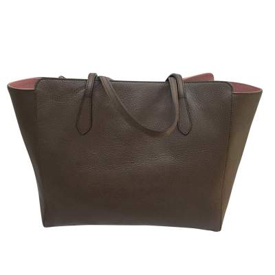 Taupe grained leather tote Bag-3