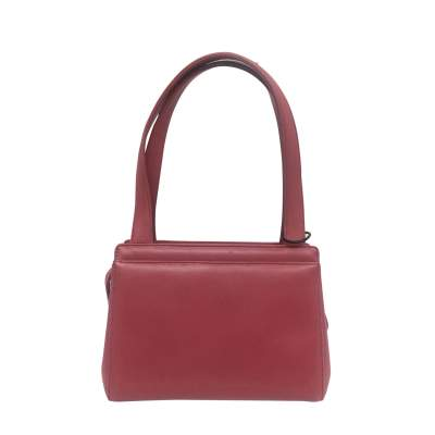 Small camellia embossed rosewood leather Bag-3