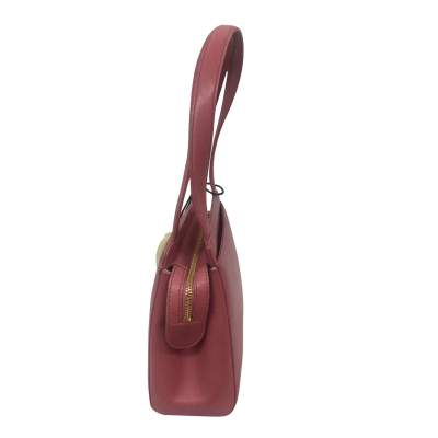 Small camellia embossed rosewood leather Bag-5