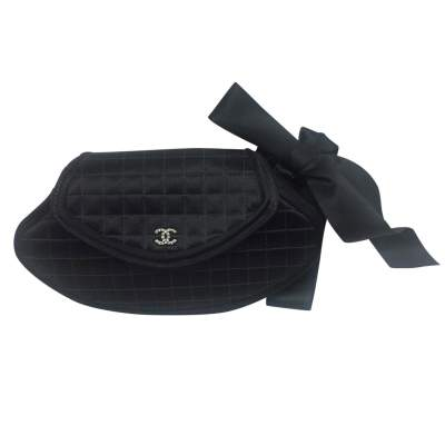 Satin black quilted Clutch-1