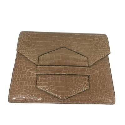 Beige crocodile flap Clutch-0