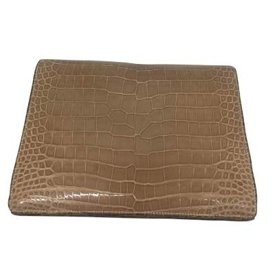 Beige crocodile flap Clutch-3