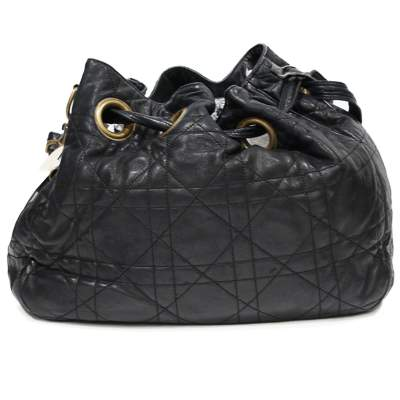 Black leather cannage Bag-0