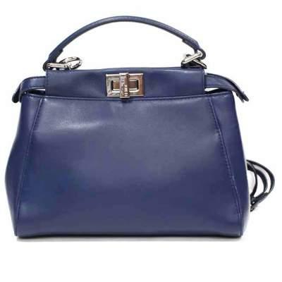 Mini blue leather peekaboo Bag-0