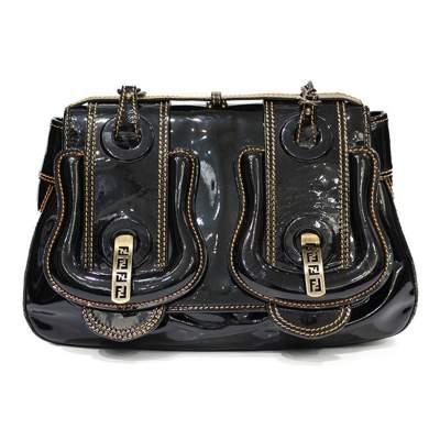 Black varnish leather Handbag-0