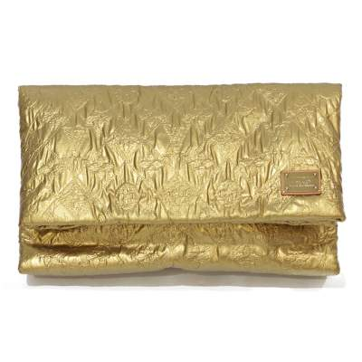 Golden leather monogram Clutch-0