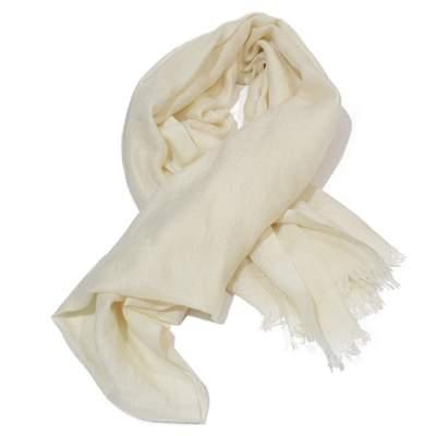 White cashmere Scarf-0