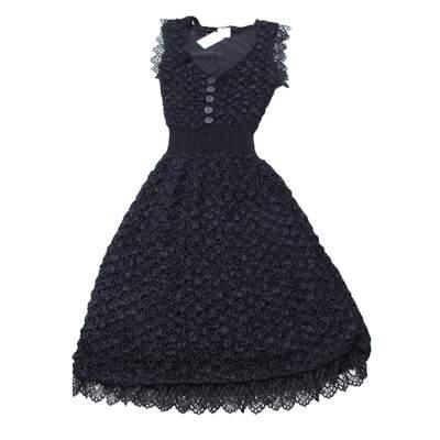 Black lace crochet Dress-0