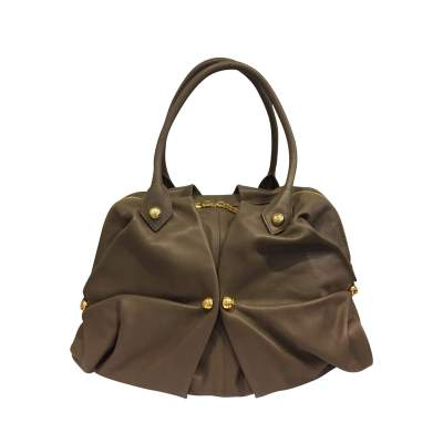 Large taupe leather Bag-0
