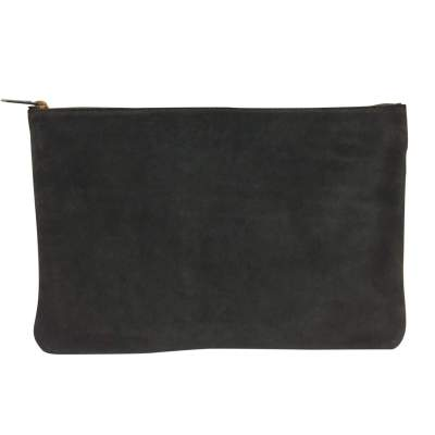 Gray anthacite suede Clutch-0