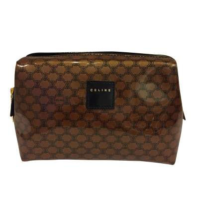 Brown plastic monogram Clutch-0