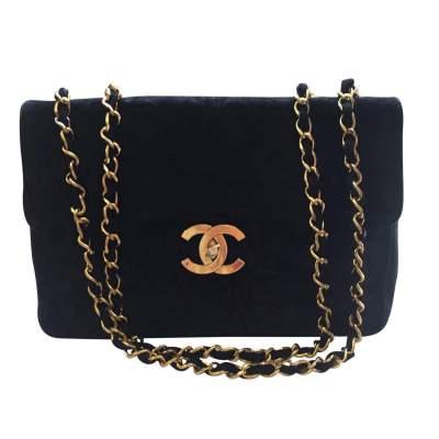 Vintage black suede jumbo Handbag -1
