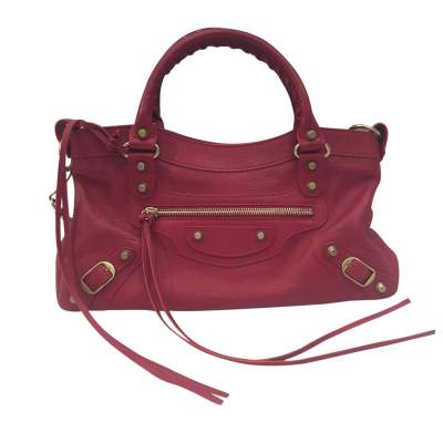 Red grained leather Handbag-0
