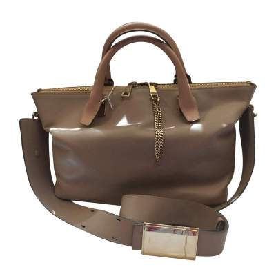 Beige and light gray  leather Handbag -0