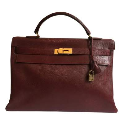 Burgundy grained leather Kelly Bag-1