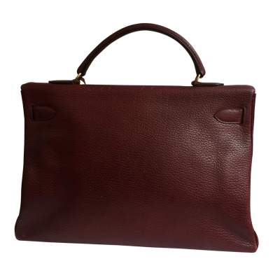 Burgundy grained leather Kelly Bag-3
