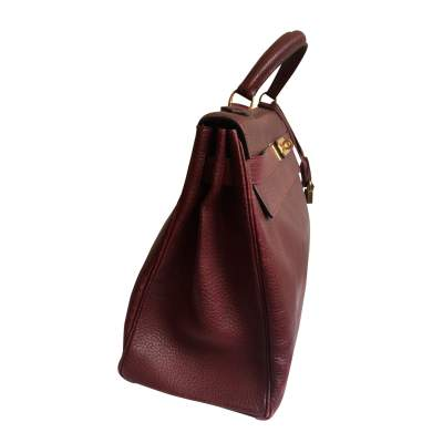 Burgundy grained leather Kelly Bag-5