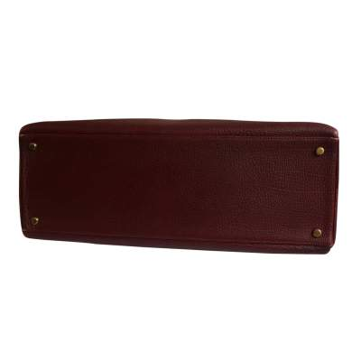 Burgundy grained leather Kelly Bag-7