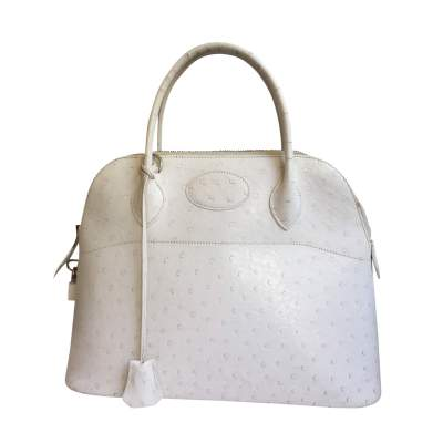 Bolide White Ostrich Handbag-1