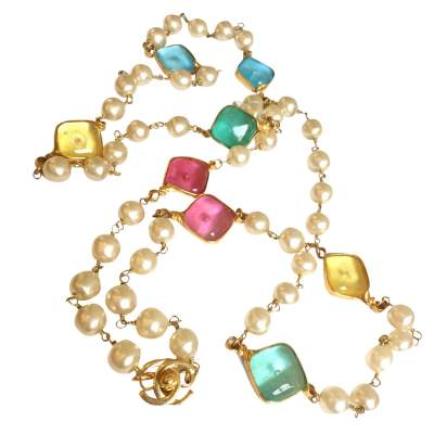 Pearl gold metal Necklace -0
