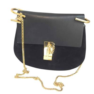 Black leather and suede Handbag-1