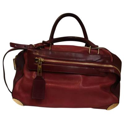 Two-tone red and burgundy leather Handbag -1